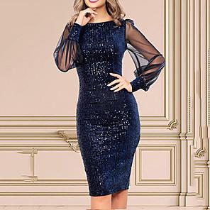 cheap Wedding Veils-Women's Sheath Dress - Long Sleeve Solid Color Sequins Tassel Fringe Slim Navy Blue S M L XL XXL