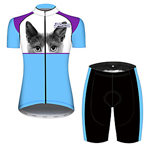cheap Cycling Jersey & Shorts / Pants Sets-21Grams Women's Short Sleeve Cycling Jersey with Shorts Blue / White Cat Animal Bike Clothing Suit Breathable 3D Pad Quick Dry Ultraviolet Resistant Sweat-wicking Sports Cat Mountain Bike MTB Road