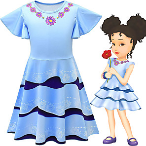 cheap Movie & TV Theme Costumes-Fancy Nancy Dress Cosplay Costume Girls' Movie Cosplay Cosplay Costume Party Blue Dress Polyster