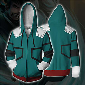 cheap Everyday Cosplay Anime Hoodies & T-Shirts-Inspired by My Hero Academia Boko No Hero Midoriya Izuku Hoodie Terylene Cartoon Stylish For Unisex