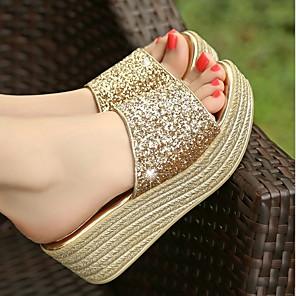 cheap Women's Sandals-Women's Slippers & Flip-Flops Flat Heel Open Toe Faux Leather Summer Gold / Silver / Black