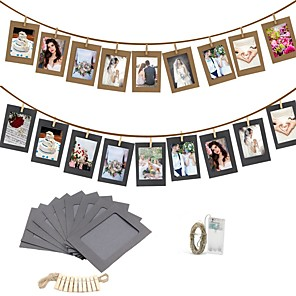 cheap Wall Chargers-10PCS DIY Photo Frame Wooden Clip Paper Picture Holder Wall Decoration For Wedding Graduation Party Photo Booth Props with 30 Led Light String