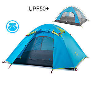 cheap Tents, Canopies & Shelters-Naturehike 3 person Tent Backpacking Tent Outdoor Waterproof Windproof Sunscreen Double Layered Camping Tent 1500-2000 mm for Fishing Beach Camping Aluminum Alloy 205*205*110 cm