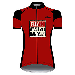 cheap Cycling Jerseys-21Grams Women's Short Sleeve Cycling Jersey Black / Red Novelty Bike Jersey Top Mountain Bike MTB Road Bike Cycling UV Resistant Breathable Quick Dry Sports Clothing Apparel / Stretchy / Race Fit