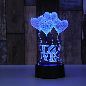 cheap 3D Night Lights-AUCD 3D Globo En Forma De Corazn Para El Da De San Valentn Lmpara De Luz Nocturna Romntica Lmpara De Acrlico Colorida Para El Hogar Y El Dormitorio 10