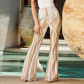 cheap Historical & Vintage Costumes-Hippie Disco Vintage Boho 1960s Pants Flowy Pants Women's Sequins Spandex Sequin Costume Apricot Vintage Cosplay Party