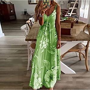 cheap Historical & Vintage Costumes-Women's Plus Size Maxi Swing Dress - Sleeveless Floral Print Summer V Neck Casual Beach Daily 2020 Blue Purple Blushing Pink Fuchsia Green Gray S M L XL XXL XXXL XXXXL XXXXXL