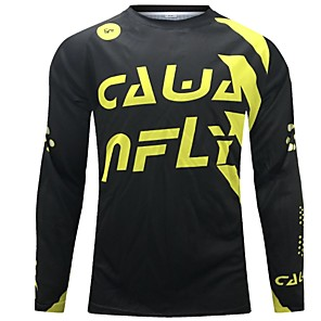 cheap Cycling Jerseys-CAWANFLY Men's Long Sleeve Cycling Jersey Downhill Jersey Dirt Bike Jersey Winter Polyester Black Novelty Bike Jersey Top Mountain Bike MTB Breathable Quick Dry Sweat-wicking Sports Clothing Apparel