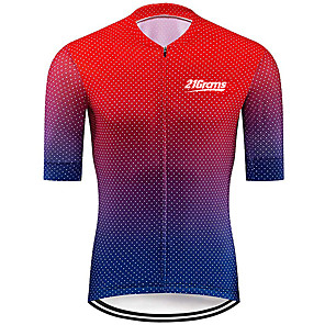 cheap Cycling Jerseys-21Grams Men's Short Sleeve Cycling Jersey Spandex Polyester Red+Blue Polka Dot Gradient Bike Jersey Top Mountain Bike MTB Road Bike Cycling UV Resistant Breathable Quick Dry Sports Clothing Apparel