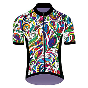 cheap Cycling Jerseys-21Grams Men's Women's Short Sleeve Cycling Jersey Black / Green Floral Botanical Bike Jersey Top Mountain Bike MTB Road Bike Cycling UV Resistant Breathable Quick Dry Sports Clothing Apparel