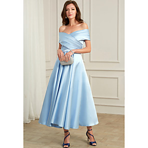 cheap Wedding Veils-A-Line Sexy Blue Wedding Guest Cocktail Party Dress Off Shoulder Short Sleeve Ankle Length Chiffon with Pleats 2020