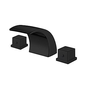 cheap Bathroom Sink Faucets-Bathroom Sink Faucet - Widespread Black Waterfall Basin Sink Mixer Tap Dual Handles Washroom Faucet
