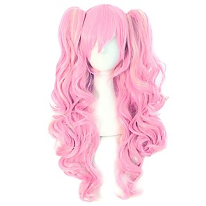 cheap Synthetic Trendy Wigs-Synthetic Wig Curly Body Wave Halloween Asymmetrical Wig Pink Long Pink Synthetic Hair 30 inch Women's Best Quality Pink