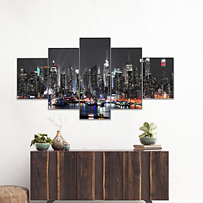 cheap Prints-AMJ Hot Sale City Night Scenery Pentagram Living Room Sofa Background Wall Decoration Canvas Picture Frameless Core