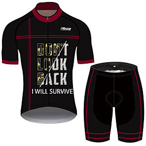 cheap Cycling Jersey & Shorts / Pants Sets-21Grams Men's Short Sleeve Cycling Jersey with Shorts Black / Red Australia Bike Clothing Suit UV Resistant Breathable 3D Pad Quick Dry Sweat-wicking Sports Solid Color Mountain Bike MTB Road Bike