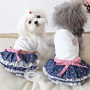 cheap Dog Clothes-Dog Costume Dress Dog Clothes Breathable White Costume Beagle Bichon Frise Chihuahua Jeans Polka Dot Voiles & Sheers Bowknot Casual / Sporty Cute XS S M L XL