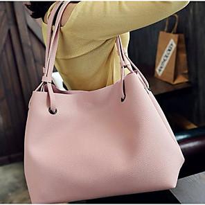 cheap Handbag & Totes-Women's PU Top Handle Bag Solid Color 2 Pieces Purse Set Blushing Pink / Dark Gray / Black