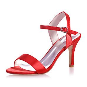 cheap Women's Boots-Women's Wedding Shoes Stiletto Heel Open Toe Satin Minimalism Spring & Summer Black / White / Purple / Party & Evening