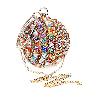cheap Clutches & Evening Bags-Women's Crystals / Chain Polyester / Alloy Evening Bag Color Block Gold / Red / Rainbow