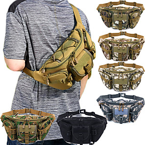cheap Sleeping Bags & Camp Bedding-Hiking Waist Bag Military Tactical Backpack Camouflage Expandable Multifunctional Rain Waterproof Wear Resistance Multi Pocket Outdoor Hiking Camping Oxford Blue Grey