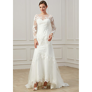 cheap Wedding Dresses-Sheath / Column Wedding Dresses Jewel Neck Sweep / Brush Train Lace Tulle Long Sleeve Formal Plus Size Illusion Sleeve with Draping Appliques 2020