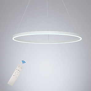 cheap Pendant Lights-80CM Circle Design LED Pendant Light Modern Ceiling Light for Dinning Room Bedroom Entry Aluminum Frame with Acrylic Shade in Black White Gold Coffee Colors