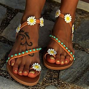 cheap Women's Sandals-Women's Sandals Boho / Beach 2020 Summer / Fall Flat Heel Open Toe Casual Daily Home Flower Faux Leather Light Brown