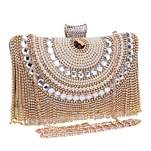 cheap Clutches & Evening Bags-Women's Crystals / Tassel Polyester / Alloy Evening Bag Color Block Black / Gold / Silver