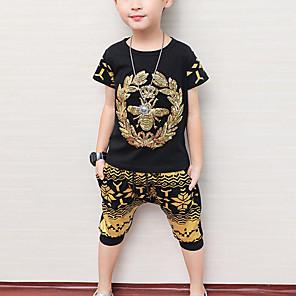 cheap Boys' Clothing Sets-Kids Boys' Basic Daily Wear Street Geometric Sequins Sleeveless Regular Regular Clothing Set Black