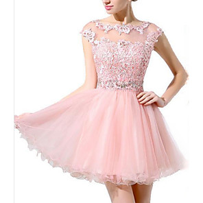 cheap Wedding Veils-A-Line Hot Pink Homecoming Cocktail Party Dress Illusion Neck Sleeveless Short / Mini Polyester with Beading Appliques 2020