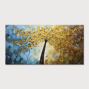 cheap Abstract Paintings-Hand Painted Canvas Oilpainting Abstract Tree by Knife Home Decoration with Frame Painting Ready to Hang