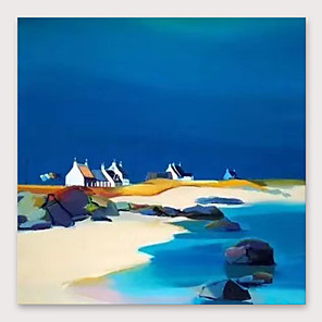 cheap Abstract Paintings-IARTS®Hand Painted Blue Beach Oil Painting   with Stretched Frame For Home Decoration