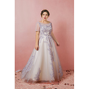 cheap Latin Dancewear-A-Line Plus Size Grey Prom Formal Evening Dress Illusion Neck Short Sleeve Floor Length Lace Satin Tulle with Pleats 2020 / Illusion Sleeve