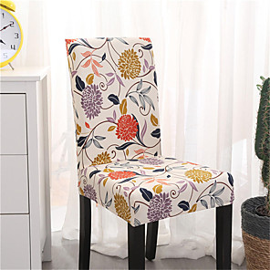 cheap Chair Cover-Khaki Floral Print Very Soft Chair Cover Stretch Removable Washable Dining Room Chair Protector Slipcovers Home Decor Dining Room Seat Cover