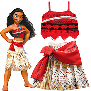 cheap Movie & TV Theme Costumes-Moana Skirt Cosplay Costume Girls' Movie Cosplay Cosplay Costume Party Red Skirts Top Halloween Carnival Masquerade Polyster
