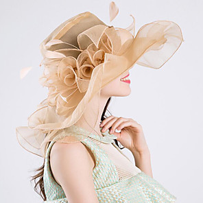 cheap Party Hats-Vintage Style Fashion Tulle / Organza Hats / Headwear with Feather / Bowknot / Flower 1 Piece Wedding / Outdoor Headpiece