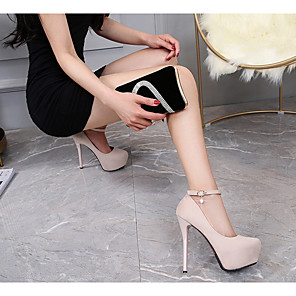cheap Women's Boots-Women's Heels Stiletto Heel Pointed Toe PU Spring & Summer Black / Beige
