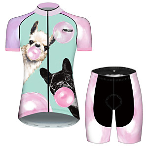 cheap Cycling Jersey & Shorts / Pants Sets-21Grams Women's Short Sleeve Cycling Jersey with Shorts Pink+Green Dog Animal Balloon Bike Clothing Suit Breathable 3D Pad Quick Dry Ultraviolet Resistant Sweat-wicking Sports Dog Mountain Bike MTB