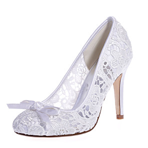 cheap Wedding Shoes-Women's Wedding Shoes Mesh Stiletto Heel Round Toe Bowknot Lace Sweet Spring & Summer Pink / White / Ivory / Party & Evening