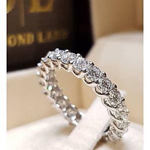 cheap Earrings-Couple's Ring AAA Cubic Zirconia 1pc Silver Silver 2 Silver 4 Platinum Plated Alloy Stylish Wedding Gift Jewelry Cute