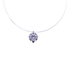 cheap Pendant Necklaces-Synthetic Diamond Necklace Silver For Women's Luxury Elegant Fashion Wedding Party Engagement Party High Quality 1pc