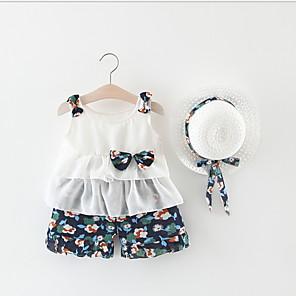 cheap Baby Girls'  Dresses-Baby Girls' Street chic Print Sleeveless Regular Clothing Set Blue