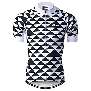 cheap Cycling Jerseys-21Grams Men's Short Sleeve Cycling Jersey Black / White Plaid / Checkered Bike Jersey Top Mountain Bike MTB Road Bike Cycling UV Resistant Breathable Quick Dry Sports Clothing Apparel / Stretchy