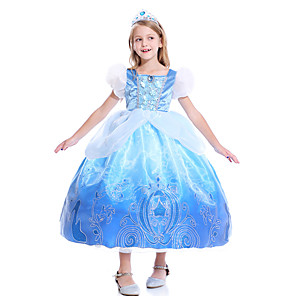 cheap Movie & TV Theme Costumes-Cinderella Dress Masquerade Flower Girl Dress Girls' Movie Cosplay A-Line Slip Cosplay Halloween Blue Dress Halloween Carnival Masquerade Tulle Cotton