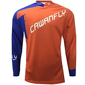 cheap Cycling Jerseys-CAWANFLY Men's Long Sleeve Cycling Jersey Downhill Jersey Dirt Bike Jersey Winter Polyester Black Patchwork Novelty Bike Jersey Top Mountain Bike MTB Breathable Quick Dry Sweat-wicking Sports