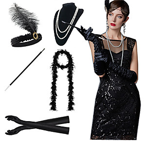 cheap Historical & Vintage Costumes-The Great Gatsby Charleston 1920s Roaring 20s Costume Accessory Sets Gloves Necklace Flapper Headband Women's Feather Costume Black / White / Red Vintage Cosplay Party Prom / Scarf / Cigarette Stick