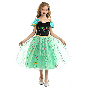 cheap Movie & TV Theme Costumes-Princess Fairytale Anna Cosplay Costume Party Costume Flower Girl Dress Kid's Girls' A-Line Slip Christmas Halloween Children's Day Festival / Holiday Chiffon Terylene Green Carnival Costumes