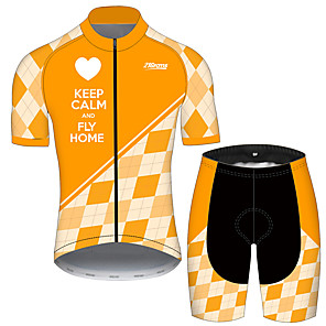 cheap Cycling Jersey & Shorts / Pants Sets-21Grams Men's Short Sleeve Cycling Jersey with Shorts Orange+White Plaid / Checkered Heart Bike Clothing Suit UV Resistant Breathable 3D Pad Quick Dry Sweat-wicking Sports Plaid / Checkered Mountain