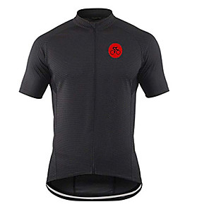 cheap Cycling Jerseys-21Grams Men's Short Sleeve Cycling Jersey Black Geometic Bike Jersey Top Mountain Bike MTB Road Bike Cycling UV Resistant Breathable Quick Dry Sports Clothing Apparel / Stretchy / Race Fit