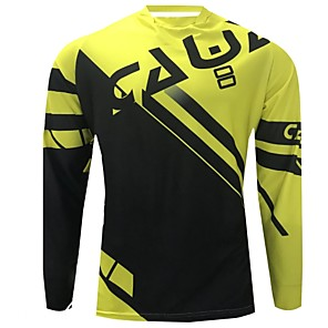 cheap Cycling Jerseys-CAWANFLY Men's Long Sleeve Cycling Jersey Downhill Jersey Dirt Bike Jersey Winter Polyester Black Geometic Novelty Bike Jersey Top Mountain Bike MTB Breathable Quick Dry Sweat-wicking Sports Clothing